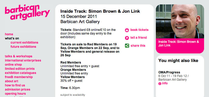 Barbican Inside Track Simon Brown Jon Link Sml