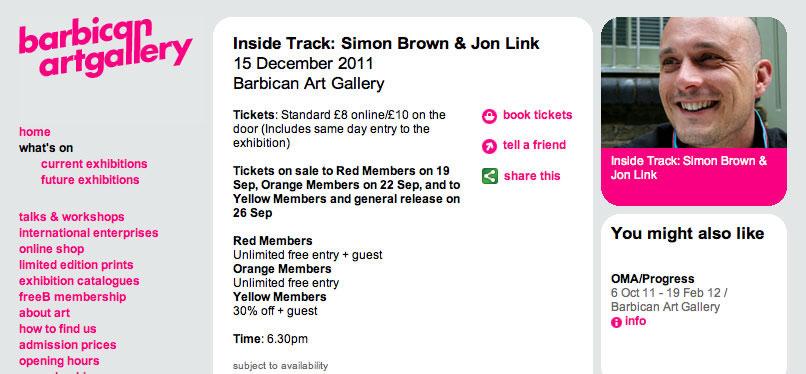 Barbican Inside Track Simon Brown Jon Link Sml